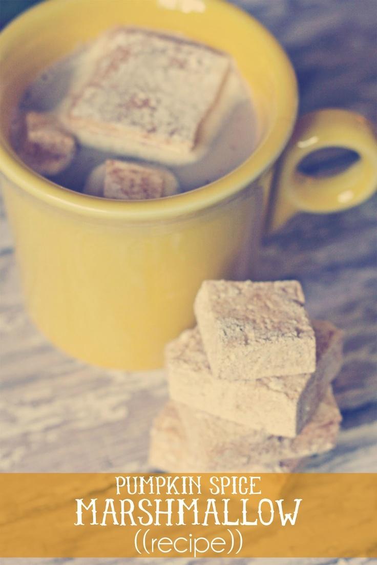 ((recipe)) homemade pumpkin spice marshmallows: Marshmallow Recipes, Pumpkin Spices, Homemade Pumpkin, Sweet Joy, Marshmallows Recipes, Spices Marshmallows, Pumpkins, Handmade Mondays, Pumpkin Pies