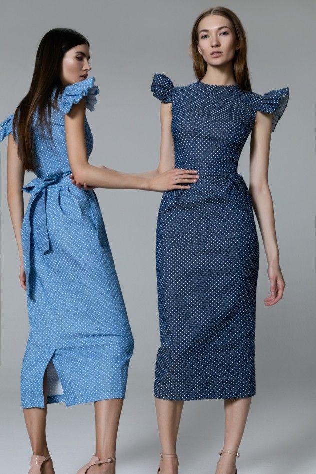 Платье «Кэри» голубое принт горох, Платье «Кэри» синее принт в горох, Цена — 27 990 рублей