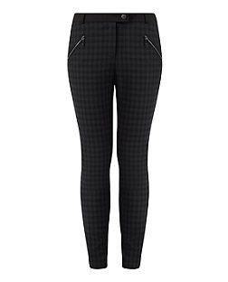 Grey (Grey) Dark Grey Check Zip Pocket Slim Leg Trousers  | 318416604 | New Look