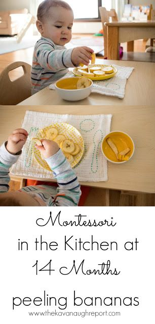 Peeling bananas is a great first way to involve your young Montessori toddler in the kitchen