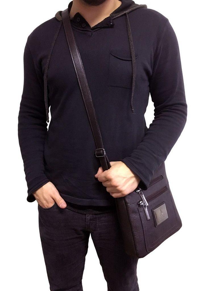 Bolsa Tiracolo Masculina em couro legítimo café - Imagem 5 61ae240a2ac