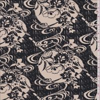 Black/Tan Floral Silk Double Georgette
