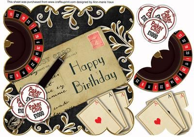Black Roulette Happy Birthday Postcard 8in Topper on Craftsuprint - Add To Basket!