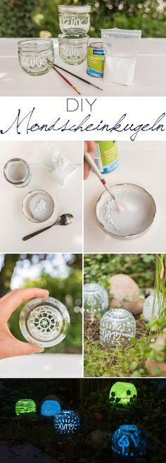 DIY upcycling glow in the dark Leuchtkugeln aus Marmeladen Gläsern als Deko für den Garten, die im Dunkeln leuchtet // leelahloves.de
