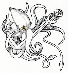 octopus anchor tattoo google search plus tattoo drawings anchors le ...