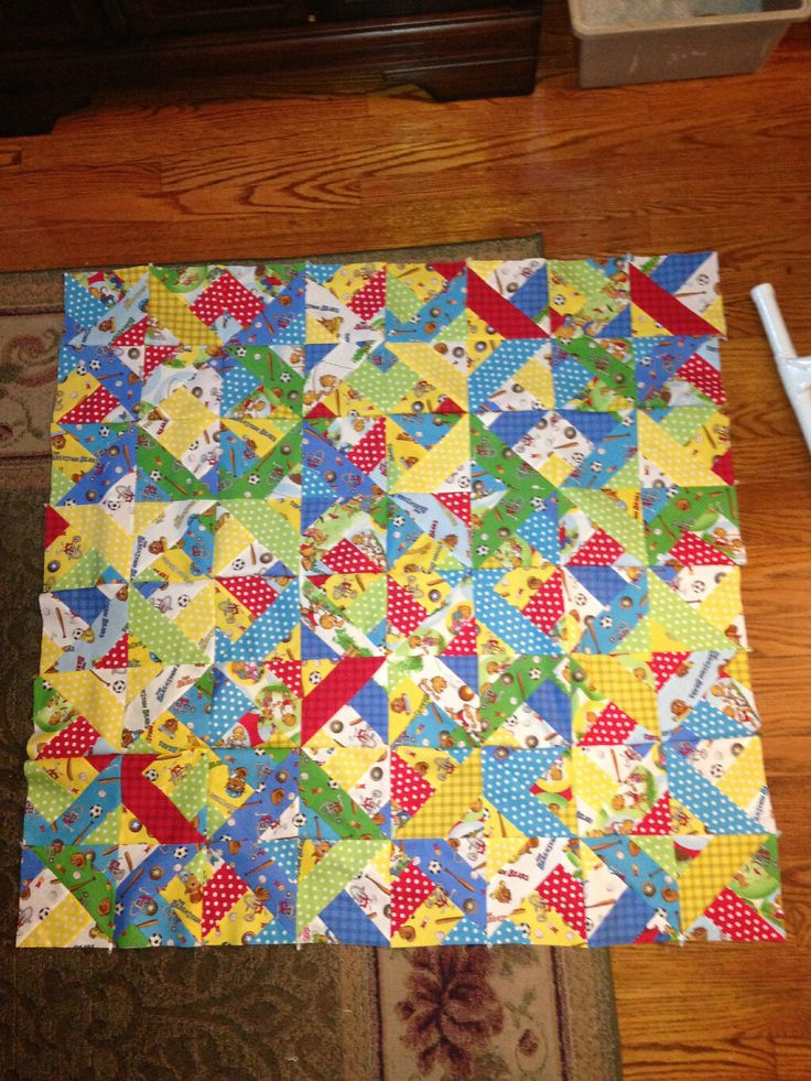 A quilt made with Welcome to Bear Country fabric per Jenny's tutorial ... we love it!