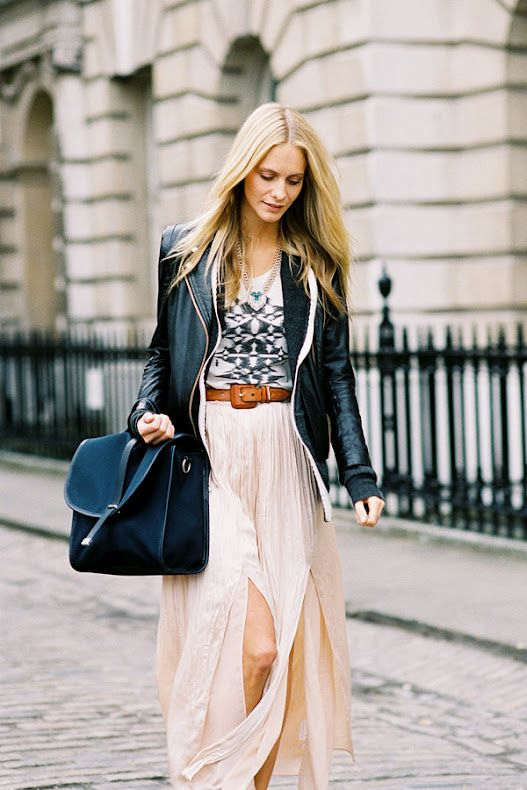love this overall look. the leather jacket contrasted with the light blush colored maxi skirt.