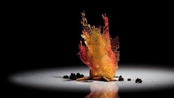 Fuego | Borracho de Campari con helado de jengibre fresco, naranja confitada  y yogur de wasabi, troncos de chocolate con leche y brasas de  sésamo negro garrapiñado. Fuego de pañuelos de caramelo de fruta  de la pasión y frambuesa. #AlbertAdria #NaturaBook