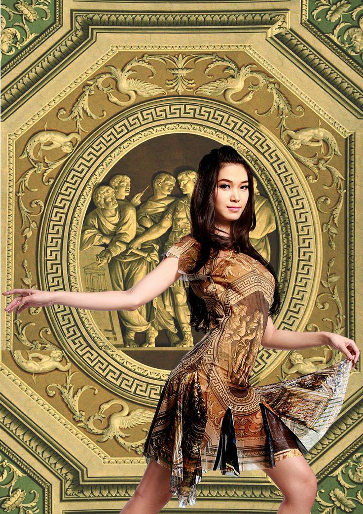 "Minh Hanh. Vietnamese Fashion Designer. ""Italian architectural style"".  Photo: Hai Dong. Model: Ngoc Han, Thuy Dung"