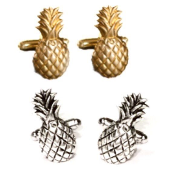 Brass Pineapple Cufflinks- Mens Tropical Fruit Pina Ananas Cuff Links, Silver Out of Stock- Groom Wedding Mans Welcome Hospitality Gift from my Etsy shop https://www.etsy.com/listing/502453407/brass-pineapple-cufflinks-mens-tropical