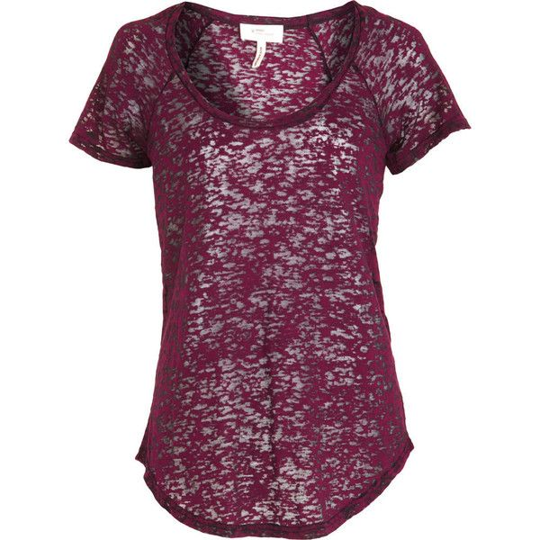 Étoile Isabel Marant Burnout Tee - Bordeaux size Large ($49) ❤ liked on Polyvore featuring tops, t-shirts, shirts, women, transparent t shirt, scoop neck tee, burnout t shirt, short sleeve shirts and short sleeve tee