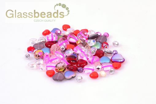 valentine´s bead mix - czech glass beads