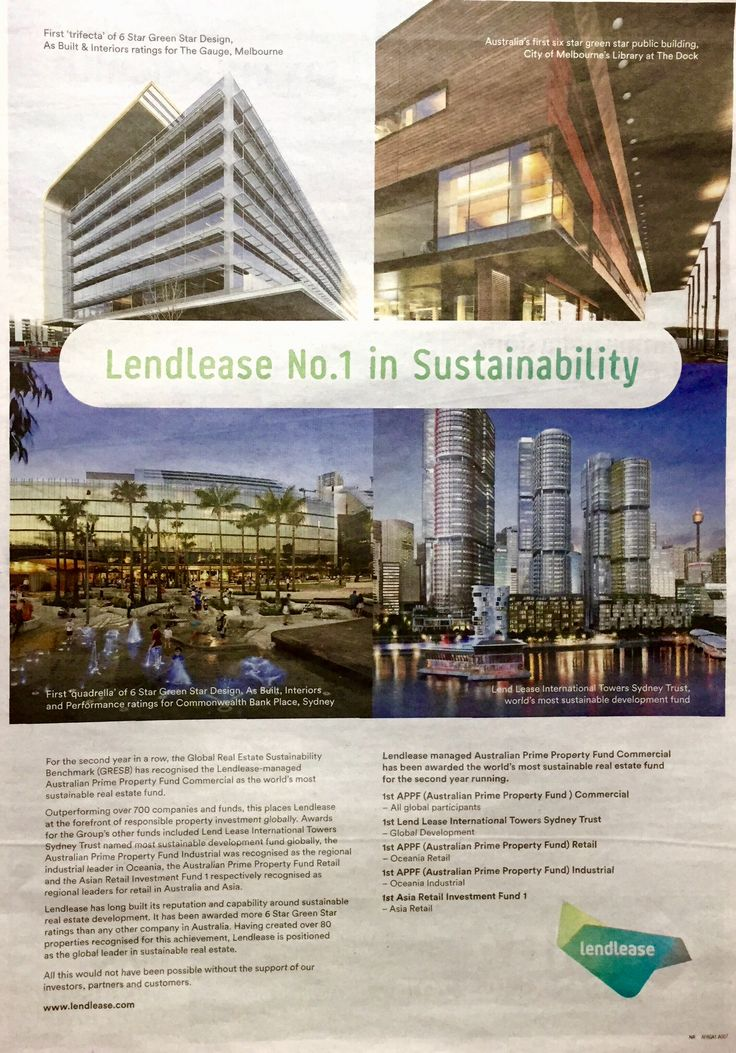 GBCA members Lendlease are #1 in sustainable building boasting some of Australia's most impressive buildings. And they're telling everyone.