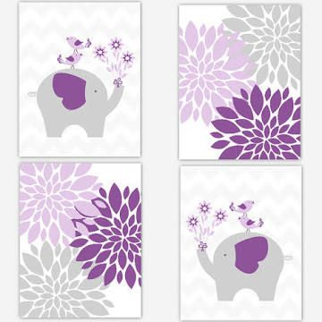 purple elephant nursery wall decor girl