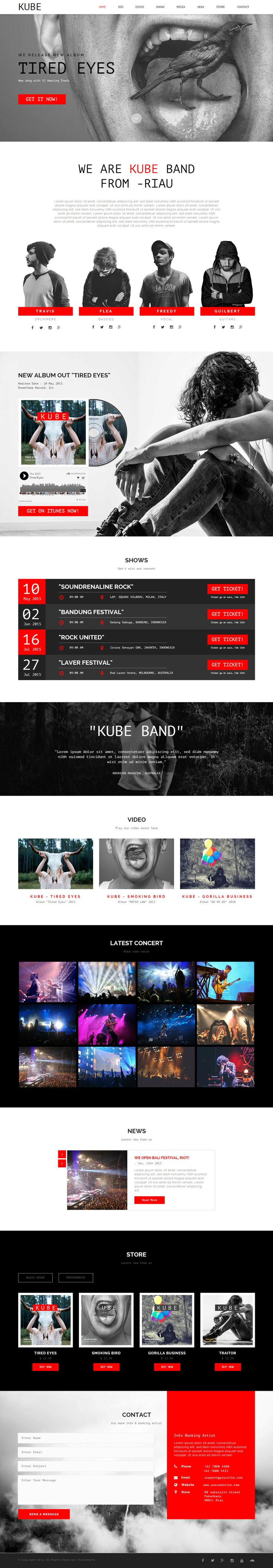 Kube - Musician, DJ, Band, Music #AdobeMuse #Template. Available on #Themeforest…