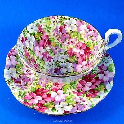 Pretty Virginia Stocks Chintz Royal Standard Tea Cup and Saucer Set