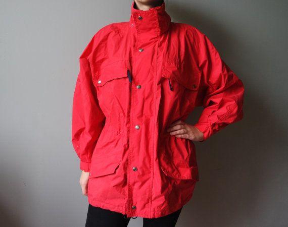 Red Windbreaker Vintage Windproof Vintage Rain Jacket Raincoat