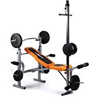Klarfit Ultimate Gym 3500 Kraftstation Hantelbank (Latissimusturm, Arm-/Beincurler, Bankdrücken, Beinstrecken, Beinbeugen, Butterfly, robust) schwarz-orange