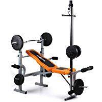 Klarfit Ultimate Gym 3500 Kraftstation Hantelbank (Latissimusturm, Arm-/Beincurler, Bankdrücken, Beinstrecken, Beinbeugen, Butterfly, robust) schwarz-orange