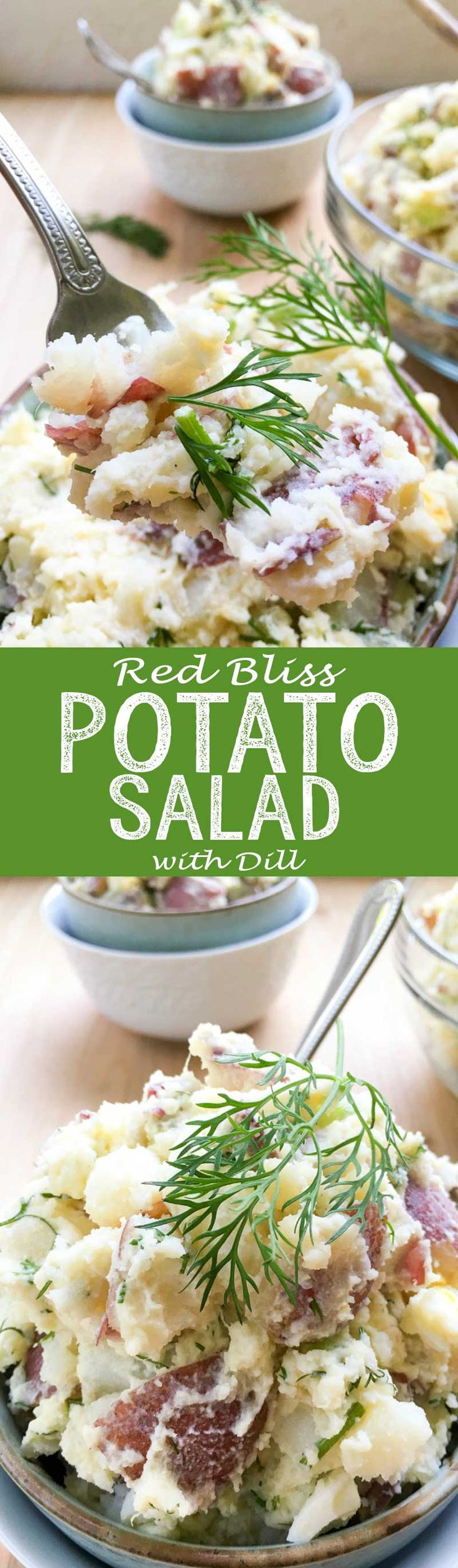Red Bliss Potato Salad with Dill has crisp celery, onion, Dijon mustard and eggs, giving it a satisfying crunch and flavor. This classic and cool Summer salad feeds a crowd, making it perfect for BBQs, potlucks or a recipe to last during the week.