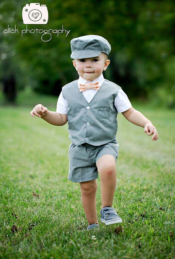 Gray Baby Boy or Toddler suit. Gray summer by CuppyCakeClothing