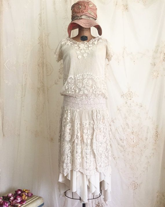 1920s Lace Flapper Dress / Vintage Flapper Dress / 1920s Dress / Small
