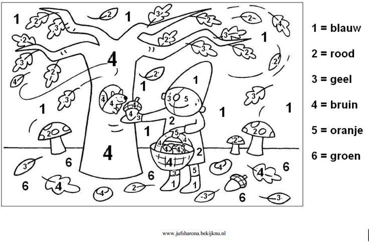 Werkblad rekenen: Herfst Pompom Cijfers
