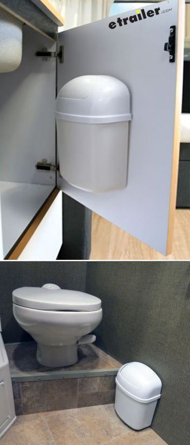 Compact kitchen trash can can mount to the wall or inside the cabinet of your Camper for space saving, compact trash disposal.