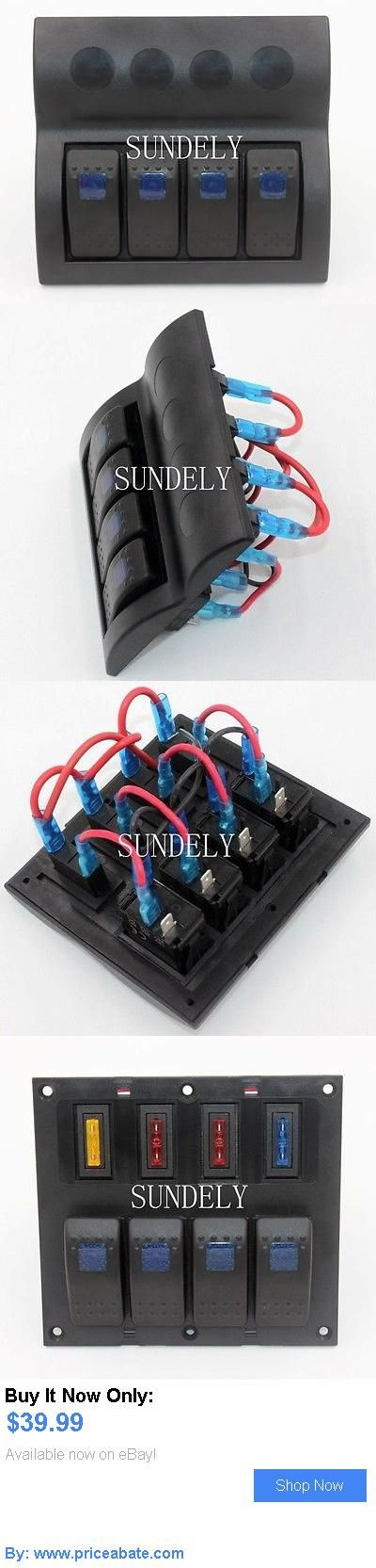 boat parts: 4 Gang Black Deluxe Led Rocker Waterproof Switch Panel And Auto Fuse - Boat/Marine BUY IT NOW ONLY: $39.99 #priceabateboatparts OR #priceabate