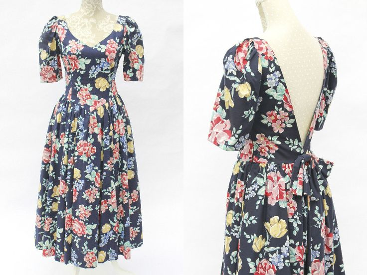 Navy Laura Ashley Vintage Dress • Alternative Wedding Dress • 50s Style Occasion Dress • Prom Dress with Sleeves • Floral Romantic Dress. S by Venelle on Etsy