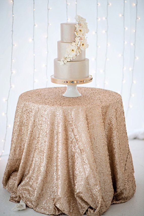 Champagne SEQUIN Tablecloth, Table Runner, Overlay, Select Your Size, Sparkle Tablecloth, Glitter Table Cloth, Sequin Wedding Tablecloth