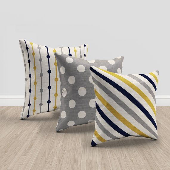 mustard yellow, blue, gray and cream throw pillows, set of 3 pillows, geometric and chevron pillows, mustard throw pillow, navy blue