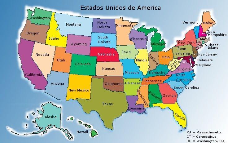 Estados Unidos Es Una República Federal Compuesta Por 50 Estados Y Un Distrito Federal Washington D C Present States In America Travel Usa United States Map