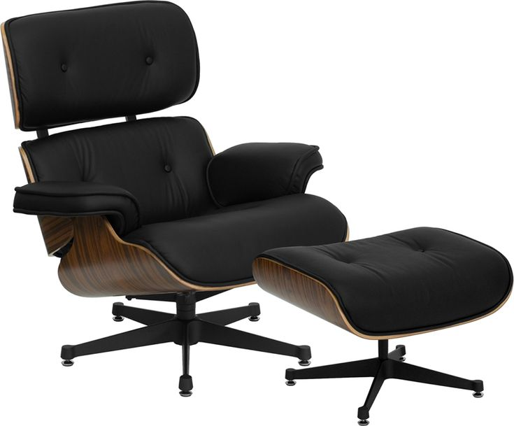 Classic Mid Century Modern Leather Lounge Chair And Ottoman: Classic  Mid Century Modern