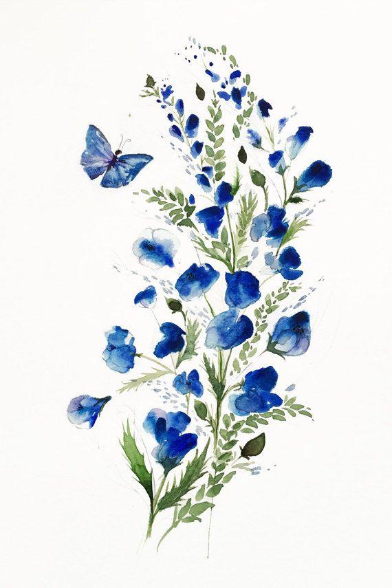 Flor mariposa arte acuarela flores por SweetPeaAndGummyBear en Etsy