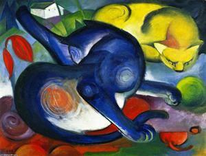 Deux chats, bleu et jaune - (Franz Marc)