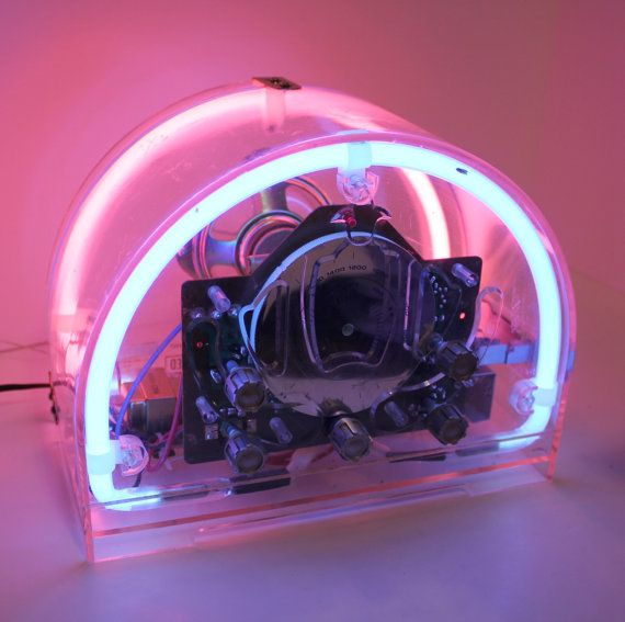 Vintage Spartan Clear Neon Radio Cassette Player by That70sShoppe, $145.00