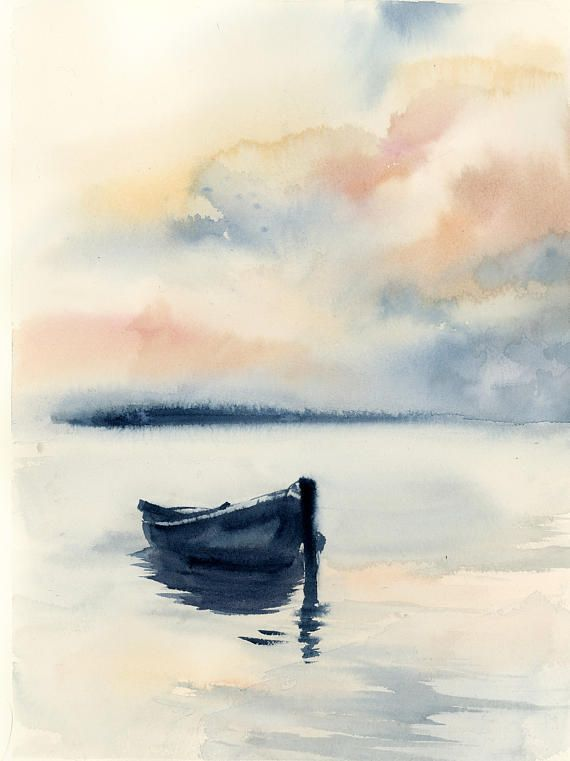 Waterscape With Lonely Boat Original Watercolor Painting Blue
