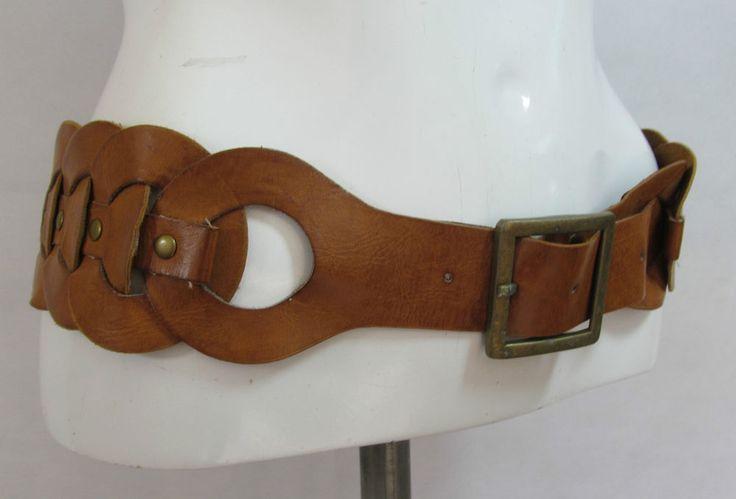 Vintage tan link style hippie boho leather belt fashion belt XL/XXL R15301 #style #fashion #love #woman #chic #eBay #BELT #sangriasuzie