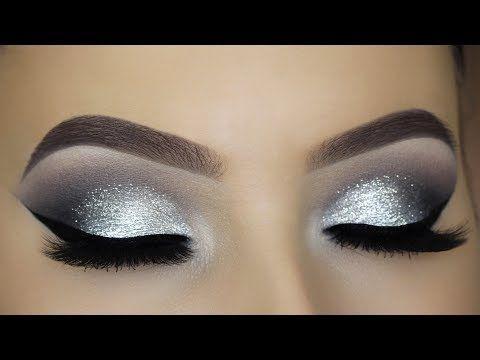 Classic Silver Glitter Eye Makeup Tutorial - YouTube
