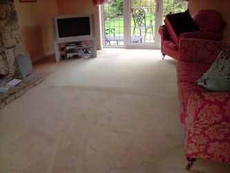 Carpet Cleaning in a Domestic Home, the top half has been cleaned, see the difference!