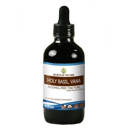 Holy Basil Tincture Alcohol-Free Extract, Organic Holy Basil (Ocimum Tenuiflorum) Dried Herb 4 oz