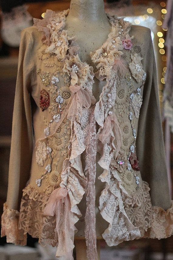 Winter baroque cardi- -bohemian romantic , altered couture, embroidered and beaded detail