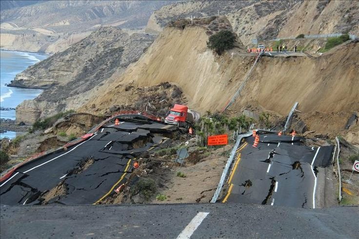 Sunday, Dec. 29, 2013, of the 300-meter (983-foot) stretch of the Tijuana-Ensenada Scenic Highway that collapsed due to earthquakes