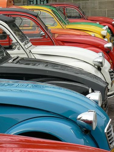 colorful row of 2CV's http://www.pinterest.com/adisavoiatrev/boards/