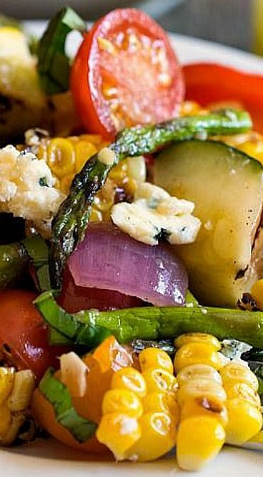 Grilled Summer Vegetable Salad Recipe ~ The light and refreshing dressing complements the smoky flavors of the grilled vegetables!