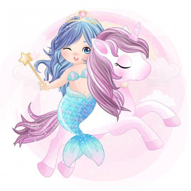 Hand Drawn Cute Unicorn And Mermaid Unicorn Wallpaper Cute Unicorns And Mermaids Cute Mermaid