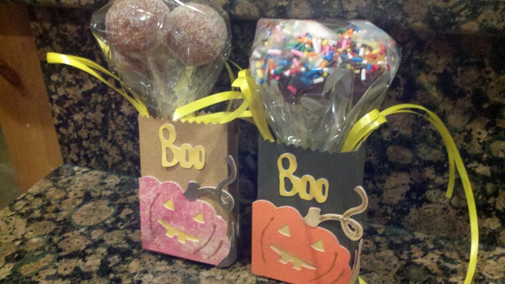 """Cricut - French Puffs & Chocolate Cake Pops made with Babycakes Cake Pop Maker. Plantin Schoolbook cartridge for the bags & Wild Card cartridge for the pumpkin and """"Boo""""."""