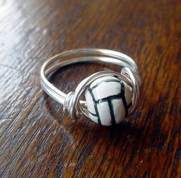 Volleyball Wire Wrapped Ring, ceramic bead, custom size. $10.00, via Etsy.