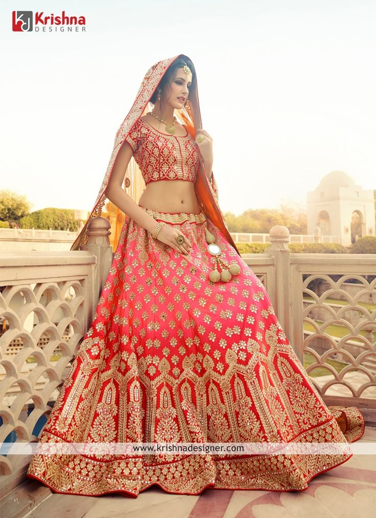 Gripping Pink And Red Patch Border Work A Line Lehenga Choli For Inquiry or Orders Call / Whatsapp: +91 9727205143  Email ID: Care@Krishnadesigner.com